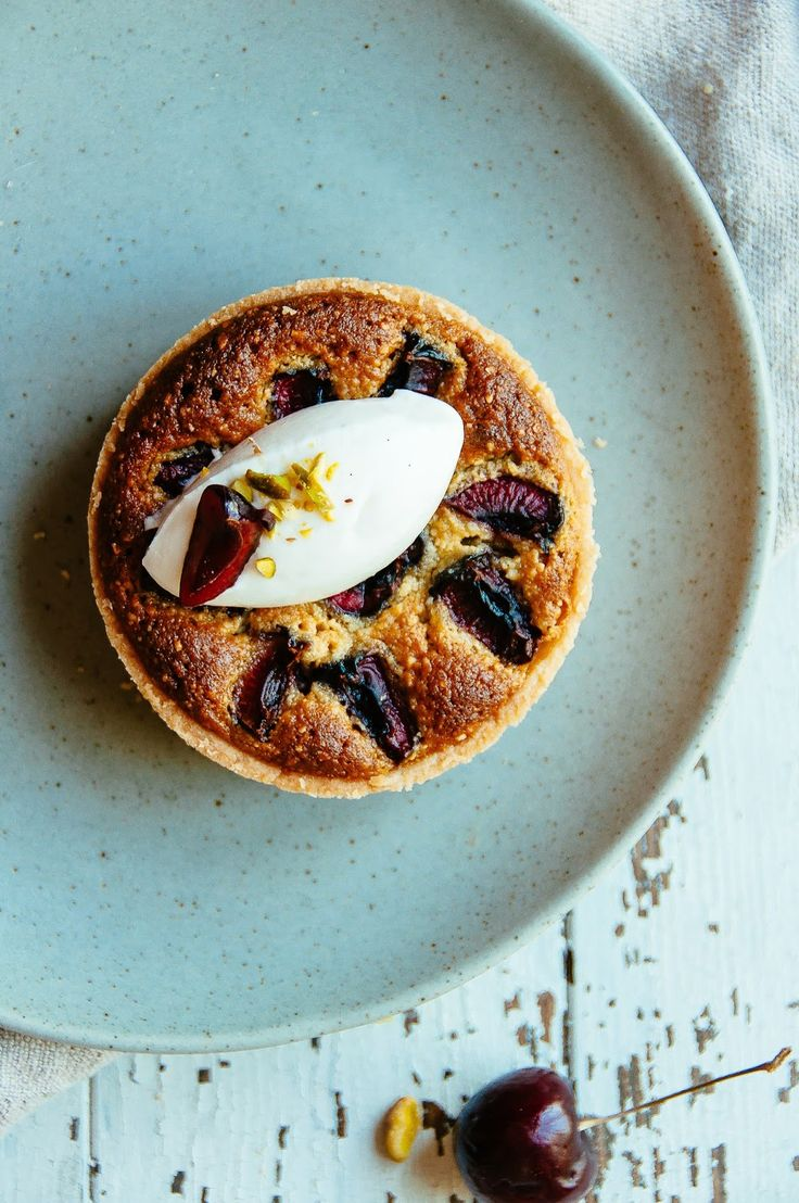 Cherry Pistachio & Almond Tarts via Hint of Vanilla