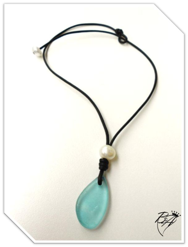 """Sea Drop"" Leather and Pearl Sea Glass drop Necklace - product images of"