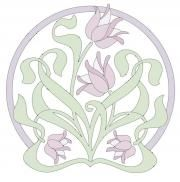 Vectorized art nouveau tulip design  perfect for shadow embroidery