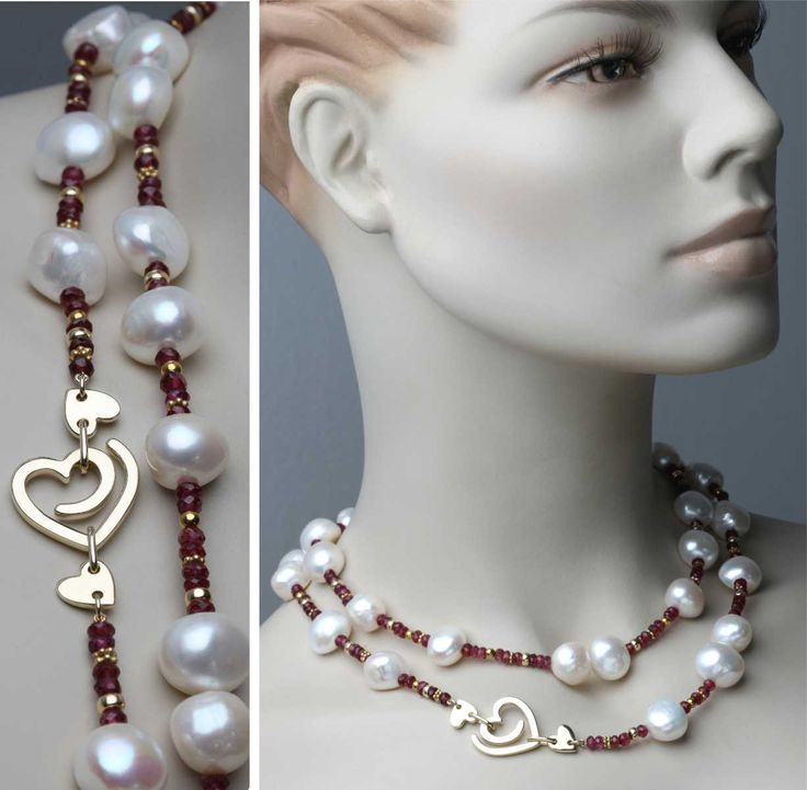 Two daughters asked me to design a unique piece for their beloved Mum's special birthday. What more appropriate symbol could there be to include in this necklace? Gold, garnet and fresh water pearls............© Kristen Malan 2016