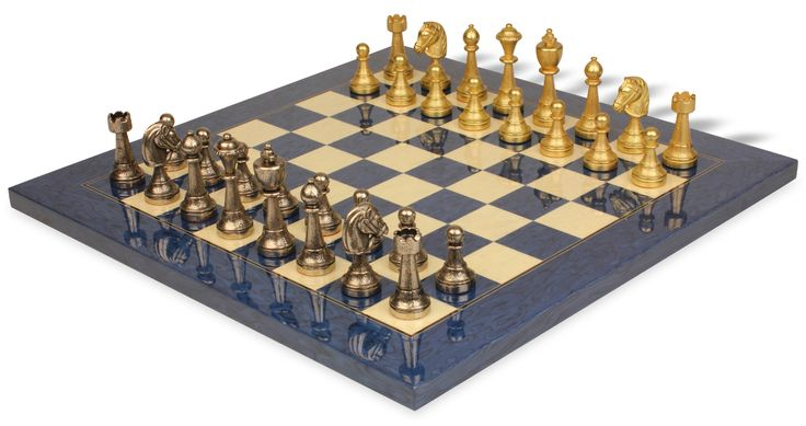 Brass Staunton Chess Set with Blue Ash Burl & Erable Deluxe Chess Board - The Chess Store