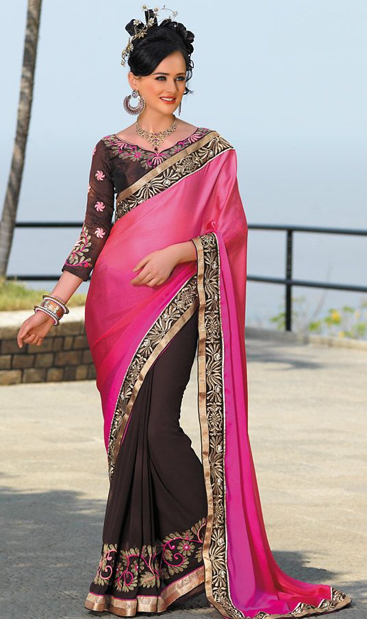 Magenta Satin Chiffon Wedding Saree
