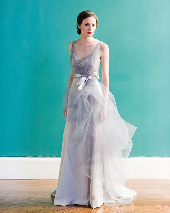 """Brides: Carol Hannah - Spring 2013. """"Downtown"""" sleeveless purple crepe A-line wedding dress with a scoop neckline and light silver tulle overlay, Carol Hannah"""