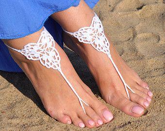 Crochet sandalias Descalzas marfil, joyería, regalo de la Dama de honor, pies descalzos sandles, playa, tobillera, boda, boda en playa, verano de los zapatos