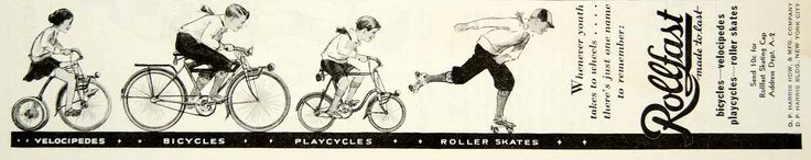 1933 Ad Rollfast DP Harris Hardware Velocipede Bicycle Playcycle Roller Skate NY #vintage #bicycle