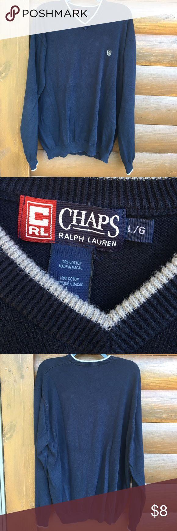 MENS Chaps Ralph Lauren Sweater 100% cotton Sweater Chaps Sweaters V-Neck