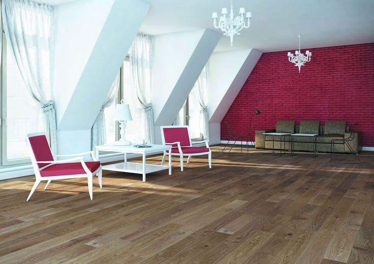 Baltic Wood, Sélection Du Sommelier, N°8 Merlot Lita podłoga dębowa, uszlachetniona beżowym olejem ECO. Struktura drewna jest wyraźnie zaznaczona dzięki procesowi szczotkowania.