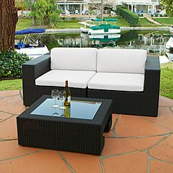 @Overstock.com - Add stylish comfort to your outdoor decor with this three-piece wicker loveseat and table set. This set features a durable construction and Sunbrella cushions that are made for years of outdoor use.http://www.overstock.com/Home-Garden/Madrid-3-piece-Outdoor-Wicker-Loveseat-and-Glass-Top-Table-Set/5721812/product.html?CID=214117 $1,271.99