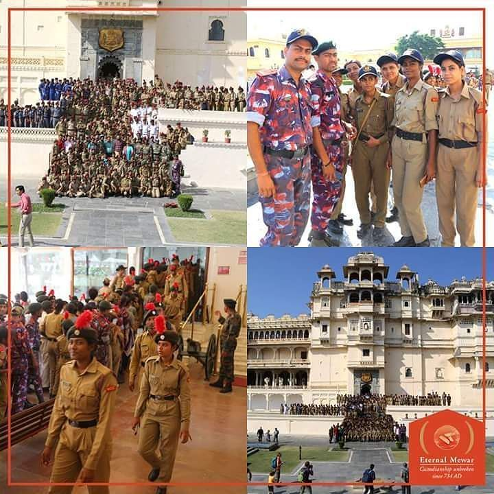 296 NCC cadets attending the All India National Integration Camp organised by NCC Group Headquarters Udaipur at Sir Padampat Singhania UniversityUdaipur visited the City Palace Museum on complementary basis. They also got the opportunity to get a photograph with Maharaj Kumar Saheb @lakshyarajsinghmewar of Udaipur. #NCC #Cadet #India #TheCityPalaceMuseum #Udaipur #Rajasthan