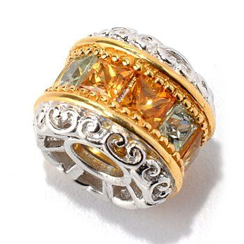 Gems en Vogue II 1.80ctw Princess Cut Multi Color Sapphire Charm
