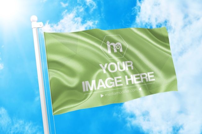 Showcase Your Logo Or Brand Design On A Waving Flag Online Mockup Template Featuring A 3d Flag On A Sky Background Sce Mockup Generator Branding Design Mockup