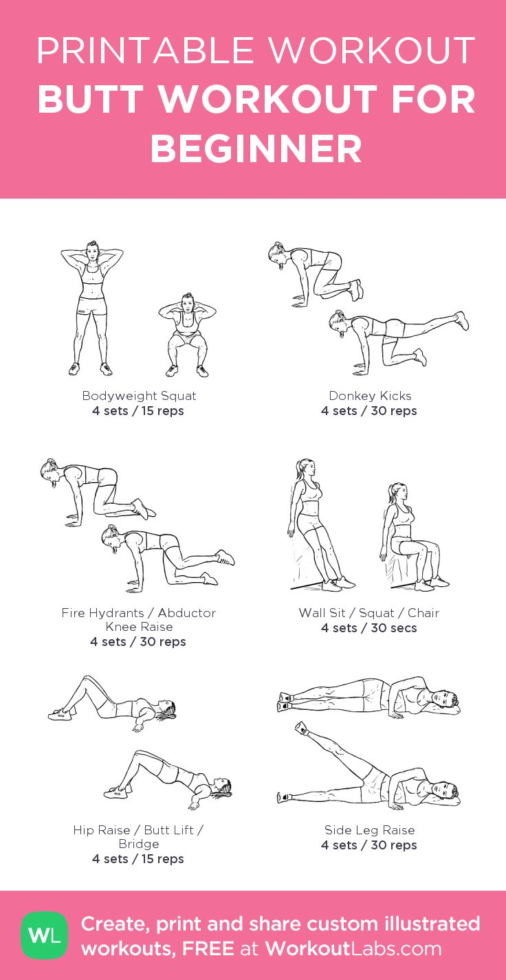 BUTT WORKOUT FOR BEGINNER:my visual workout created at WorkoutLabs.com • Click through to customize and download as a FREE PDF! #customworkout