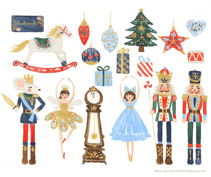 Watercolor Nutcracker Christmas Clip Art for door ReaniDesigns