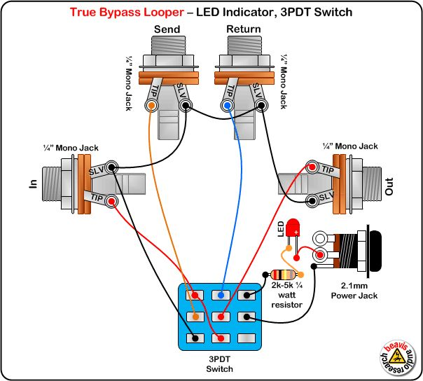 True Bypass Looper  LED, DPDT Switch Wiring Diagram