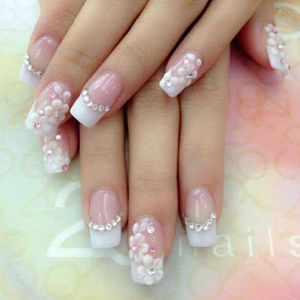 Wedding Floral Nails with Crystal Embellishments!