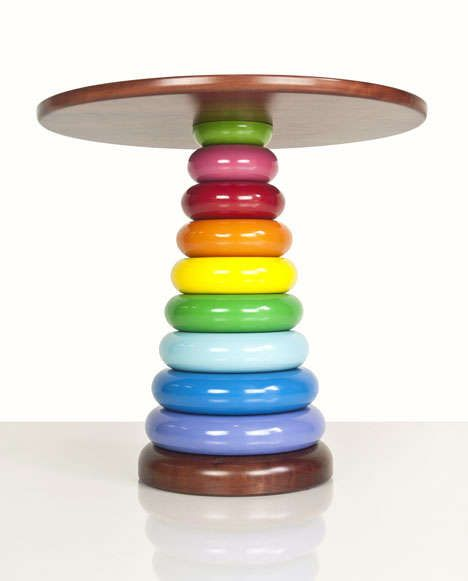 The Rainbow Side Table by Nathan Day is Colorfully Playful #design #creativity trendhunter.com