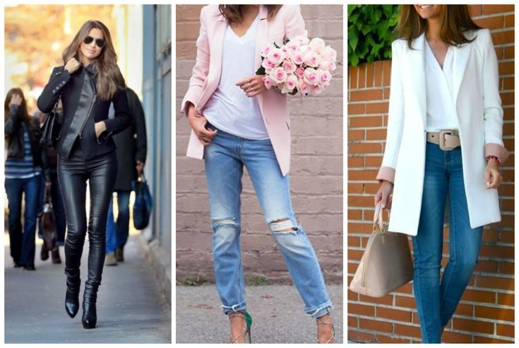 Pink blazer, white coat and black leather jacket. Perfect for apple shape body. Blue ripped jeans, blue skinny jeans, leather skinny pants. Learn how to dress your apple shape body >>> http://justbestylish.com/how-to-dress-the-apple-figure/2/