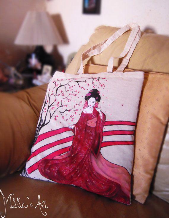 Geisha bag hand painted by Matita's Art