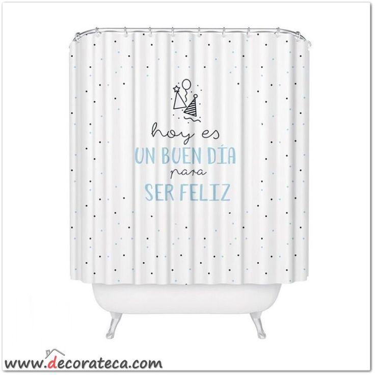 Original cortina de ducha hoy es un buen d a para ser - Cortinas en blanco y negro ...