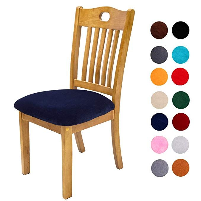 Velvet Stretch Dining Room Chair Seat Covers Slipcover Washable 2Pcs