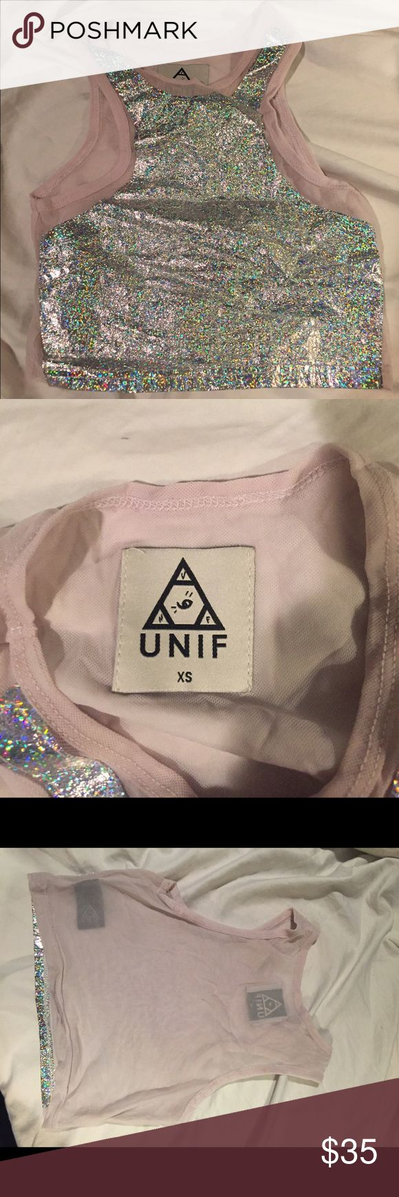UNIF metallic crop !!!!! This crop top is everything!! So fun for a rave, or just a fun outing! Worn but in great condition!! UNIF Tops Crop Tops