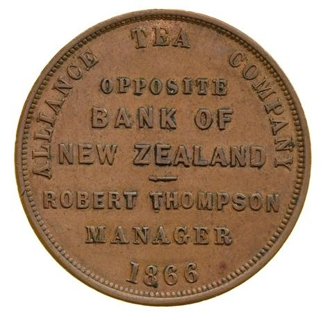 1 penny token from the Alliance Tea Company, Christchurch, New Zealand, 1866. Source: Museum Victoria. Via @museumvictoria