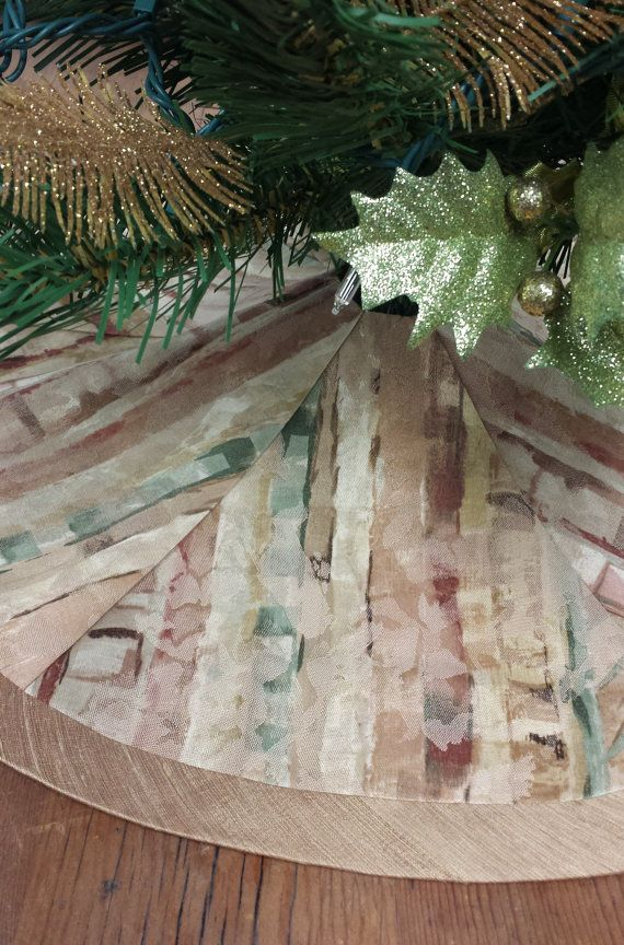 "23"" Mini-Tabletop Christmas Tree Skirt: shades of rust, terra cotta, green, golds, contemporary southwestern, tribal, desert"