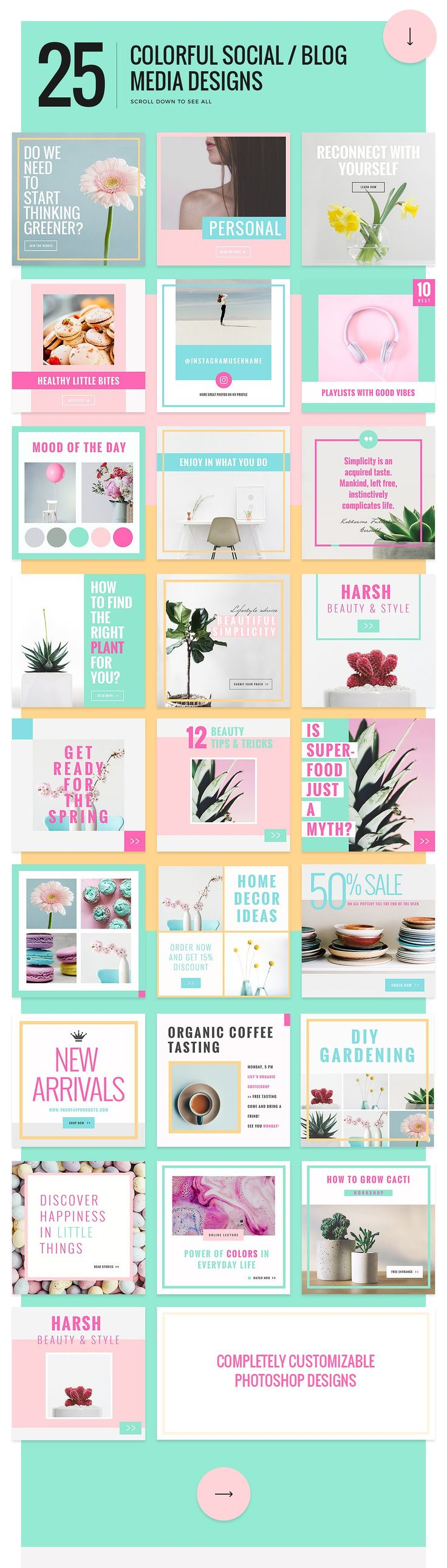 Colorful Social & Blog Media Designs by NordWood on @creativemarket
