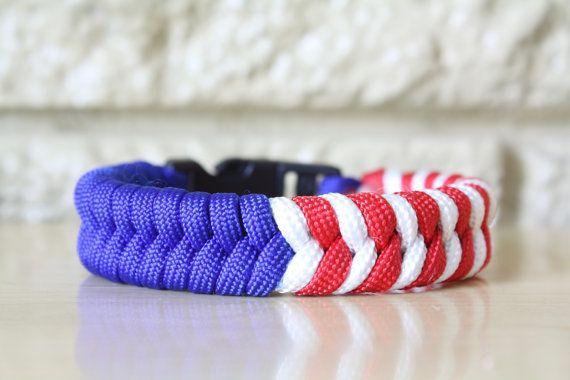 Usa Paracord Bracelet Fishtail Design Flag Of July