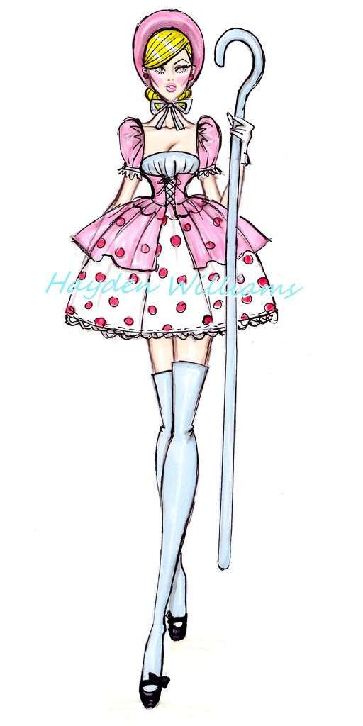 The Disney Diva's collection by Hayden Williams: Bo Peep #HaydenWIlliams #Sketches #Fashion