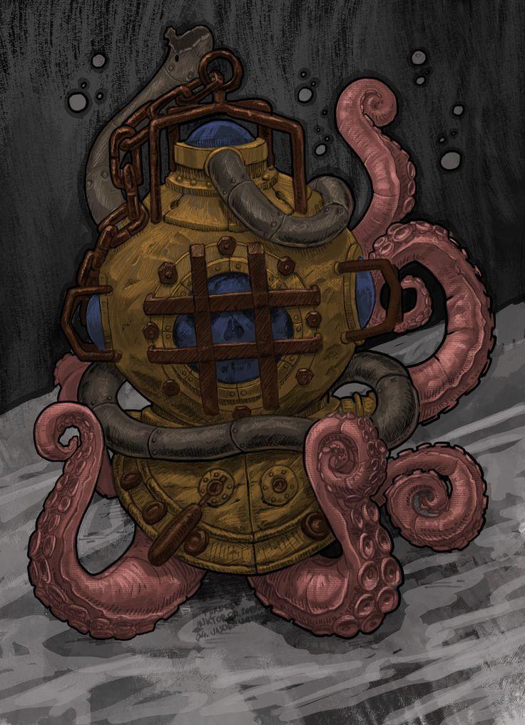 ArtStation - Diving helmet and octopus, Máté Lukács