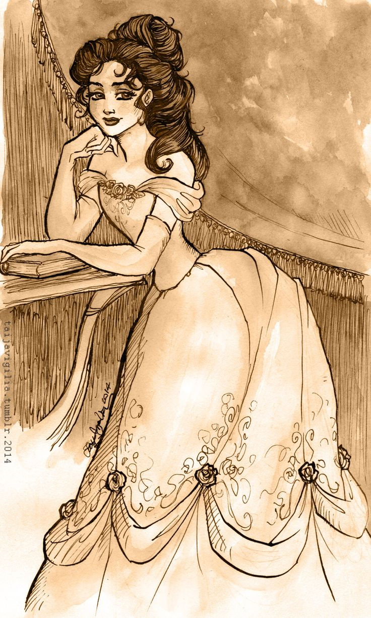 """Taija's Drawing Board, """"Gibson girl""""-inspired Belle, watercolours and ink..."""