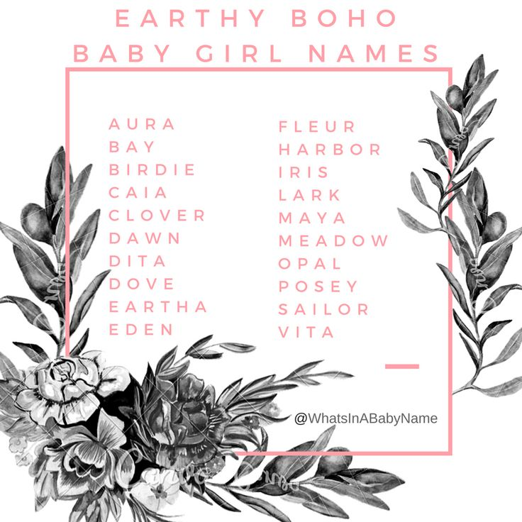 Earthy Bohemian Baby Girl Names