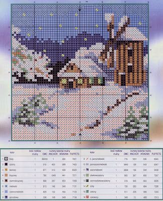 House in all seasons 4 of 4 - free cross stitch pattern
