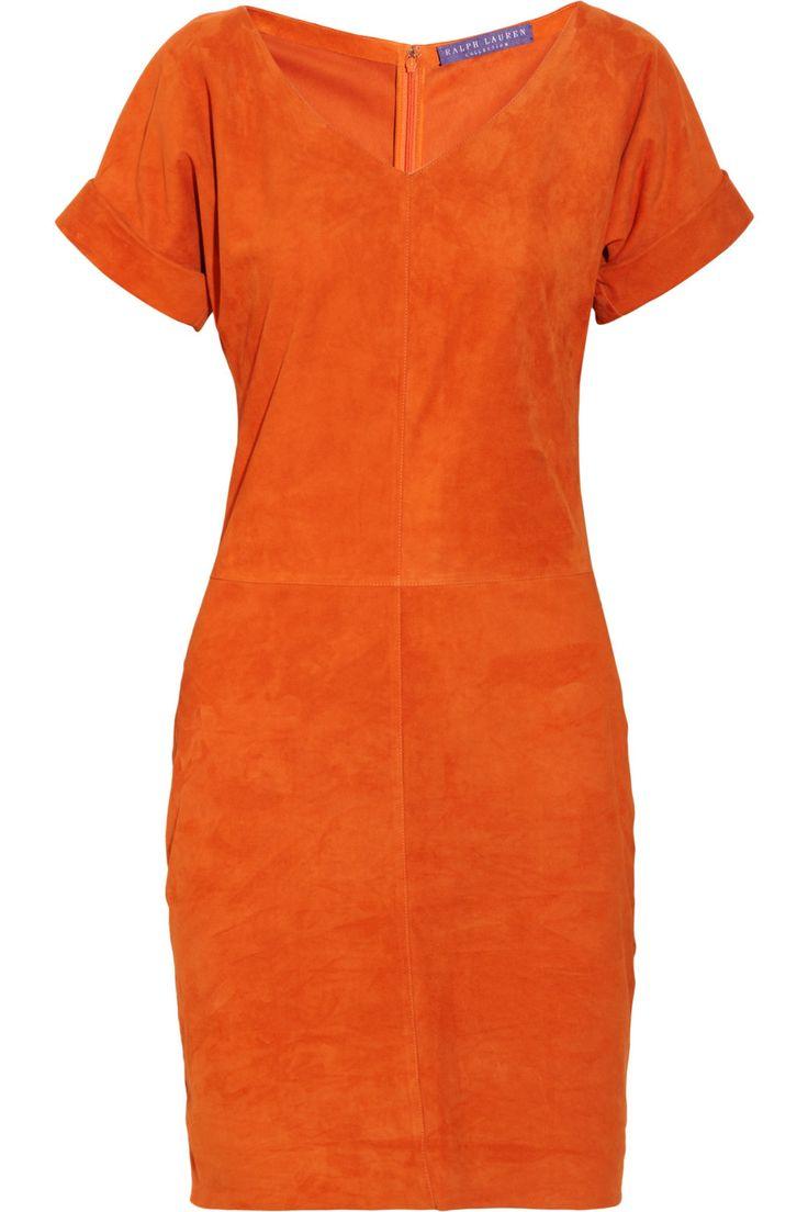Ralph Lauren: Orange Suede, Su Dresses, Lauren Collection, Lauren Orange, Orange Dresses With Boots, Suede Dresses, Leopards Prints, Brown Boots, Shiloh Suede
