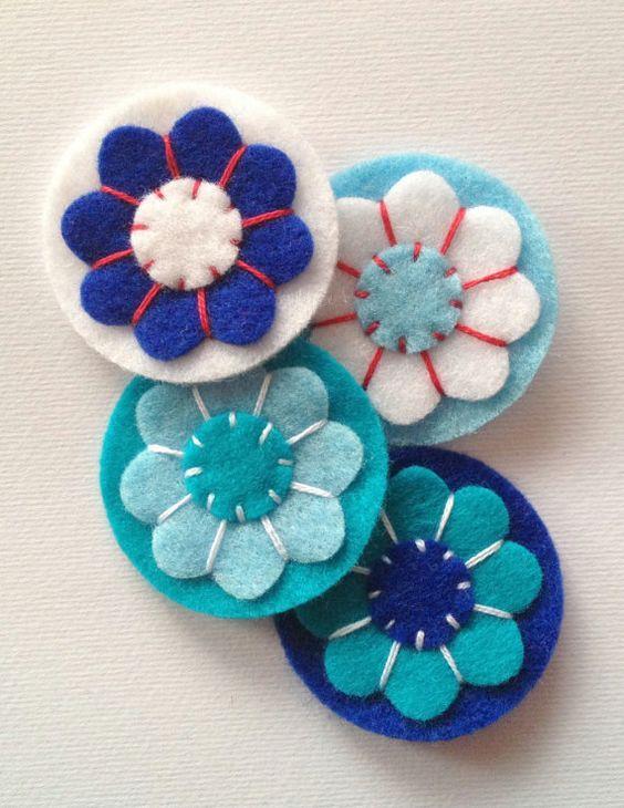 Handmade Felt Flower 4 pcs embellishments Felt by swisscharme, $3.60: