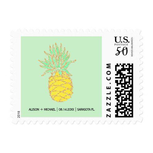 Tropical pineapple beach green gold wedding postage
