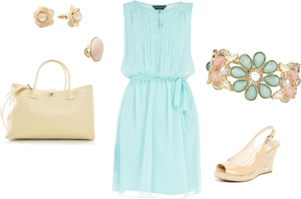 """""""Light Blue Dress Outfit"""" by ggdesigns ❤ liked on Polyvore"""