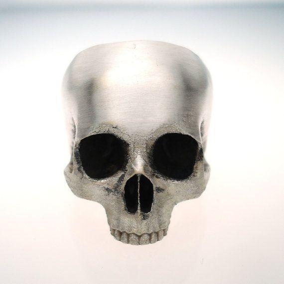 half skull ring in stainless steel