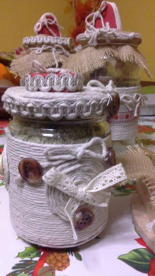 Barattoli decorati con lo spago
