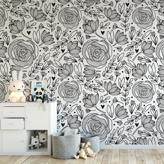 Doodle floral removable wallpaper / cute self adhesive wallpaper / black and white botanical temporary wallpaper B132-27