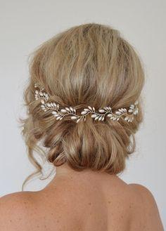 Art Deco nuziale capelli Vine, corona nuziale Pearl, riso perla sposa Halo, nozze capelli Vine, copricapo nuziale foglia di felce, nuziale Halo, 15 pollici