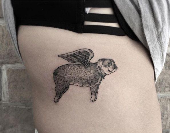 Angelic bulldog tattoo by Zeke