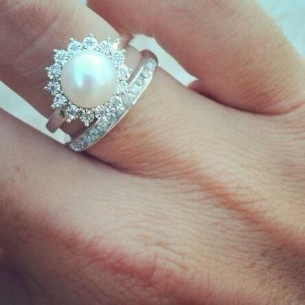 pearl engagement ring with diamond halo oh my goodness so perf could easily do without the little band the pearl ring is gorgeous - Pearl Wedding Ring Sets