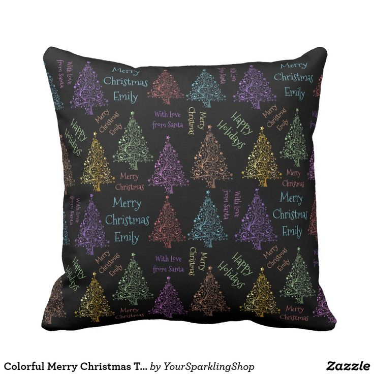 Colorful Merry Christmas Tree Pattern Add Name