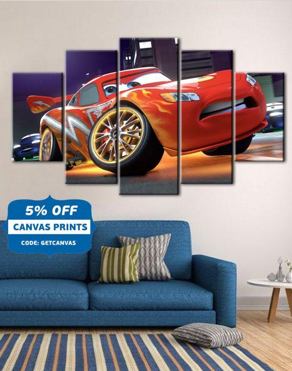 Cars Poster, Cars Canvas, Lightning Mcqueen Art, Kids Room Decor, Disney  Cars