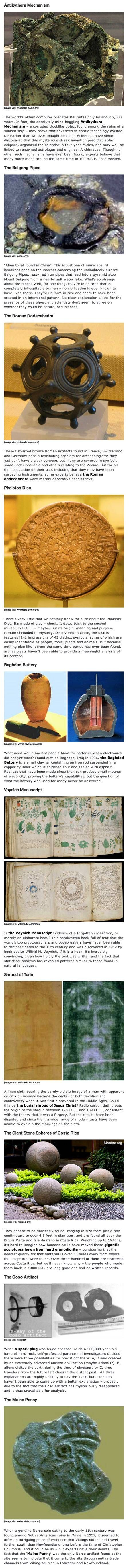 Here are some interesting technology artifacts from ancient times.