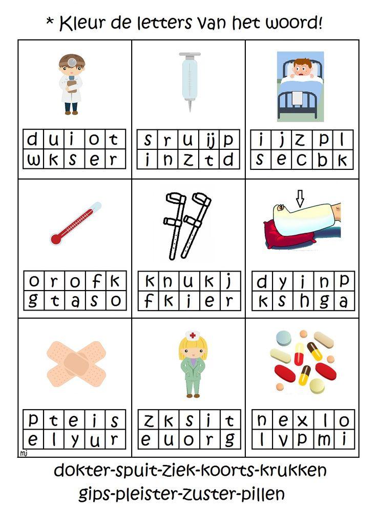 * Kleur de letters van het woord!