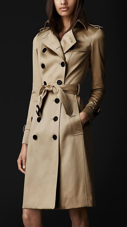 Burberry - Long Cotton Sateen Trench Coat