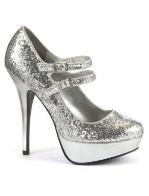 Kelly Brook Silver Glitter Double Strap Court Shoes